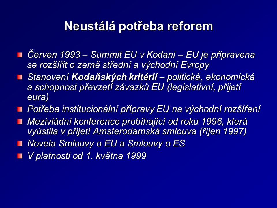 Neustálá potřeba reforem Červen 1993 – Summit EU v Kodani – EU je připravena se rozšířit o země střední a východní Evropy Stanovení Kodaňských kritéri
