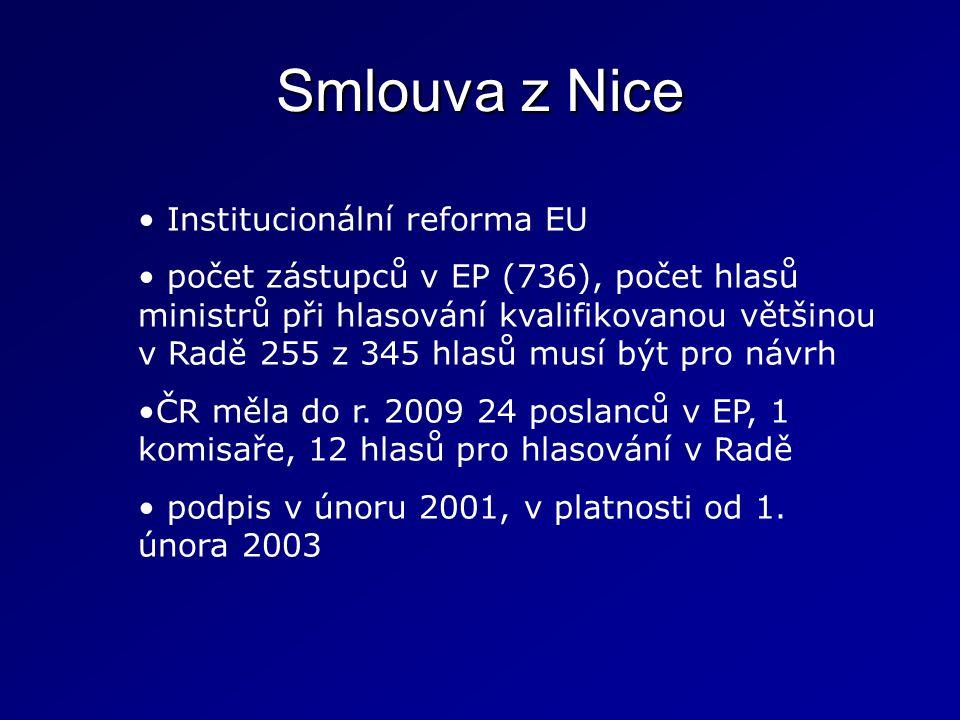 Smlouva z Nice Institucionální reforma EU počet zástupců v EP (736), počet hlasů ministrů při hlasování kvalifikovanou většinou v Radě 255 z 345 hlasů