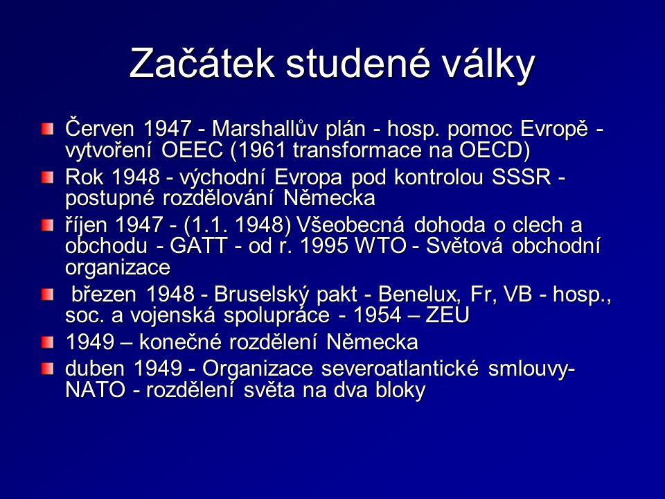 Začátek studené války Červen 1947 - Marshallův plán - hosp. pomoc Evropě - vytvoření OEEC (1961 transformace na OECD) Rok 1948 - východní Evropa pod k