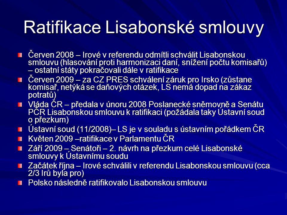 Ratifikace Lisabonské smlouvy Červen 2008 – Irové v referendu odmítli schválit Lisabonskou smlouvu (hlasování proti harmonizaci daní, snížení počtu ko