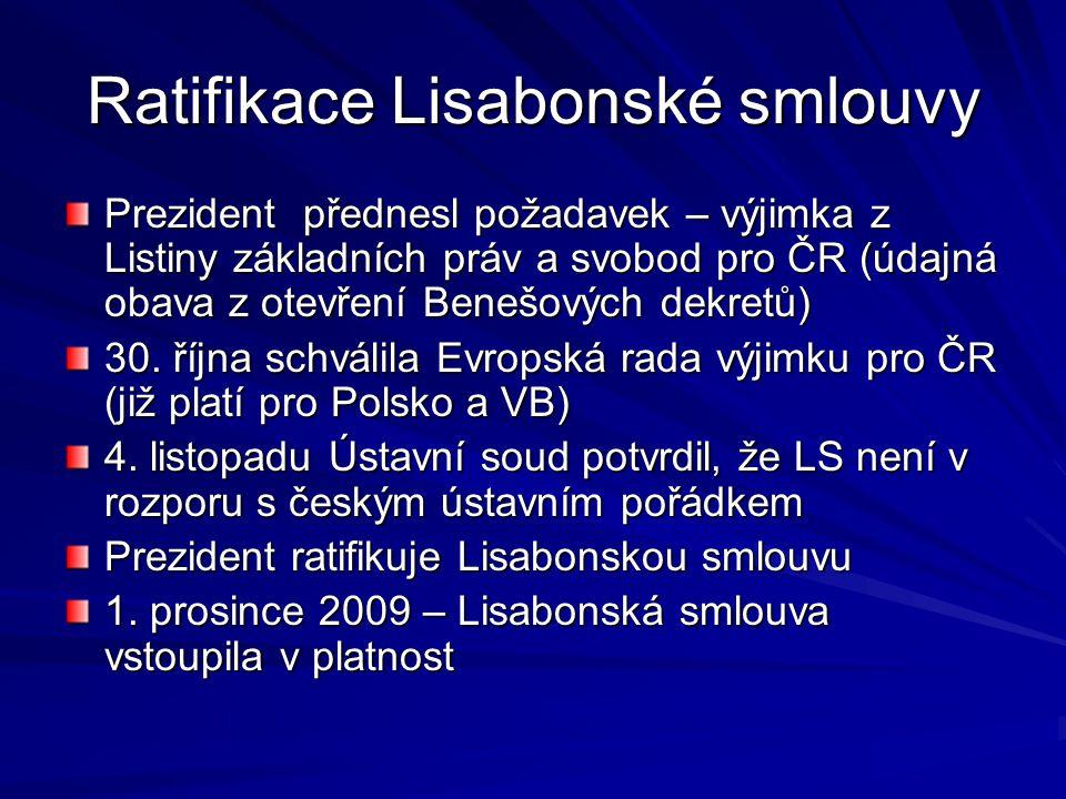 Ratifikace Lisabonské smlouvy Prezident přednesl požadavek – výjimka z Listiny základních práv a svobod pro ČR (údajná obava z otevření Benešových dek