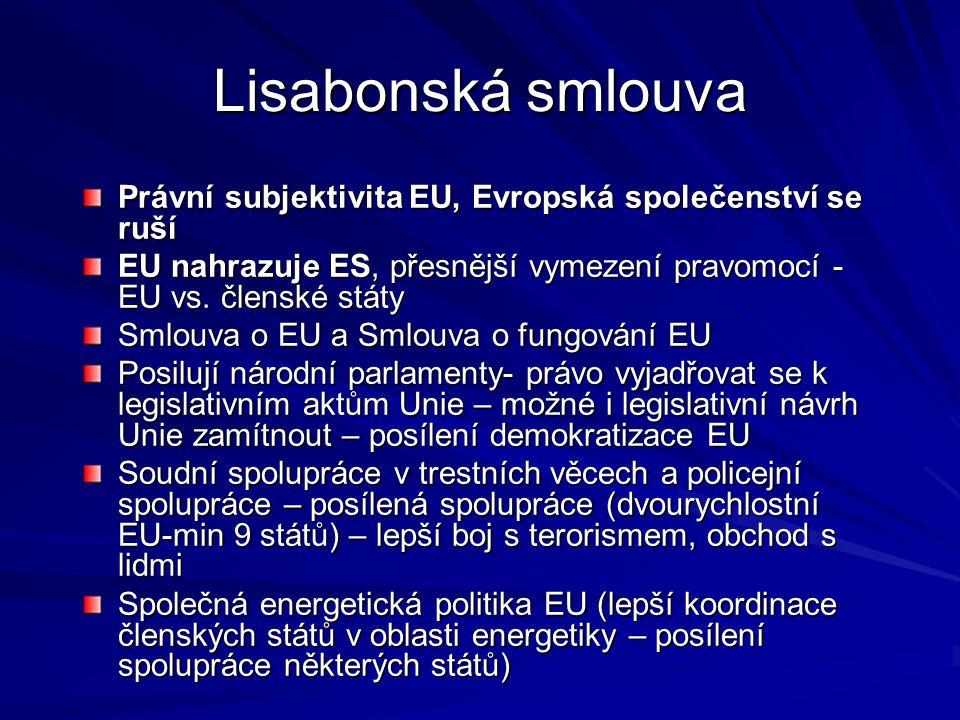 Lisabonská smlouva Právní subjektivita EU, Evropská společenství se ruší EU nahrazuje ES, přesnější vymezení pravomocí - EU vs. členské státy Smlouva