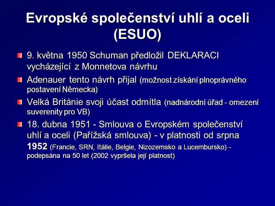 Evropské společenství uhlí a oceli (ESUO) 9. května 1950 Schuman předložil DEKLARACI vycházející z Monnetova návrhu Adenauer tento návrh přijal (možno