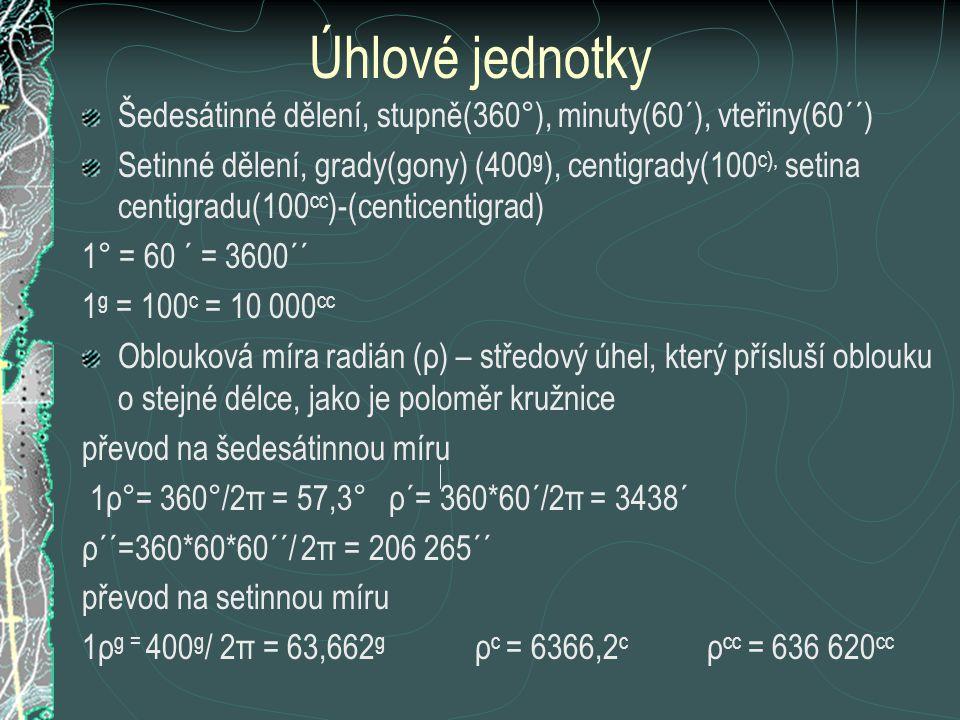 Úhlové jednotky Šedesátinné dělení, stupně(360°), minuty(60´), vteřiny(60´´) Setinné dělení, grady(gony) (400 g ), centigrady(100 c), setina centigrad