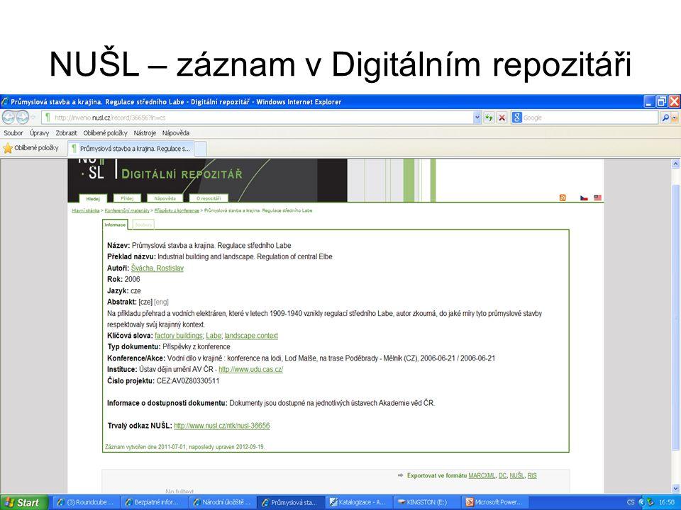 NUŠL – záznam v Digitálním repozitáři