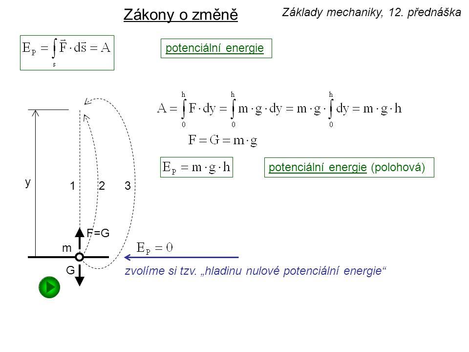 """potenciální energie zvolíme si tzv. """"hladinu nulové potenciální energie"""" Zákony o změně potenciální energie (polohová) Základy mechaniky, 12. přednášk"""