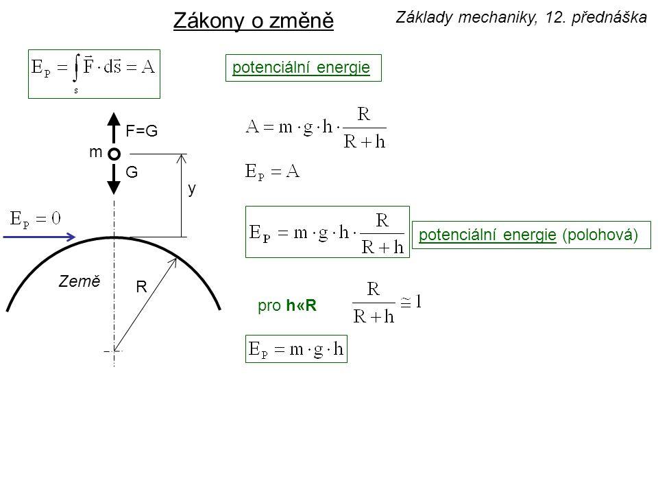 G F=G m Země R y potenciální energie Zákony o změně pro h«R potenciální energie (polohová) Základy mechaniky, 12. přednáška