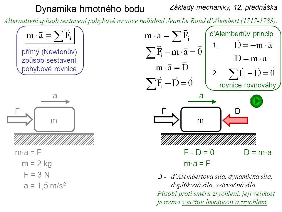 potenciální energie Zákony o změně F = k·y k - tuhost potenciální energie (deformační) - délka nosníku, E - modul pružnosti v tahu J - moment setrvačnosti Základy mechaniky, 12.