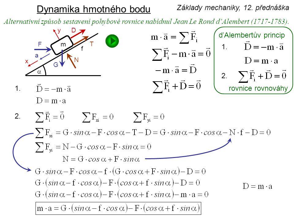 Alternativní způsob sestavení pohybové rovnice nabídnul Jean Le Rond d'Alembert (1717-1783). d'Alembertův princip rovnice rovnováhy 1. 2. 1. 2. Základ