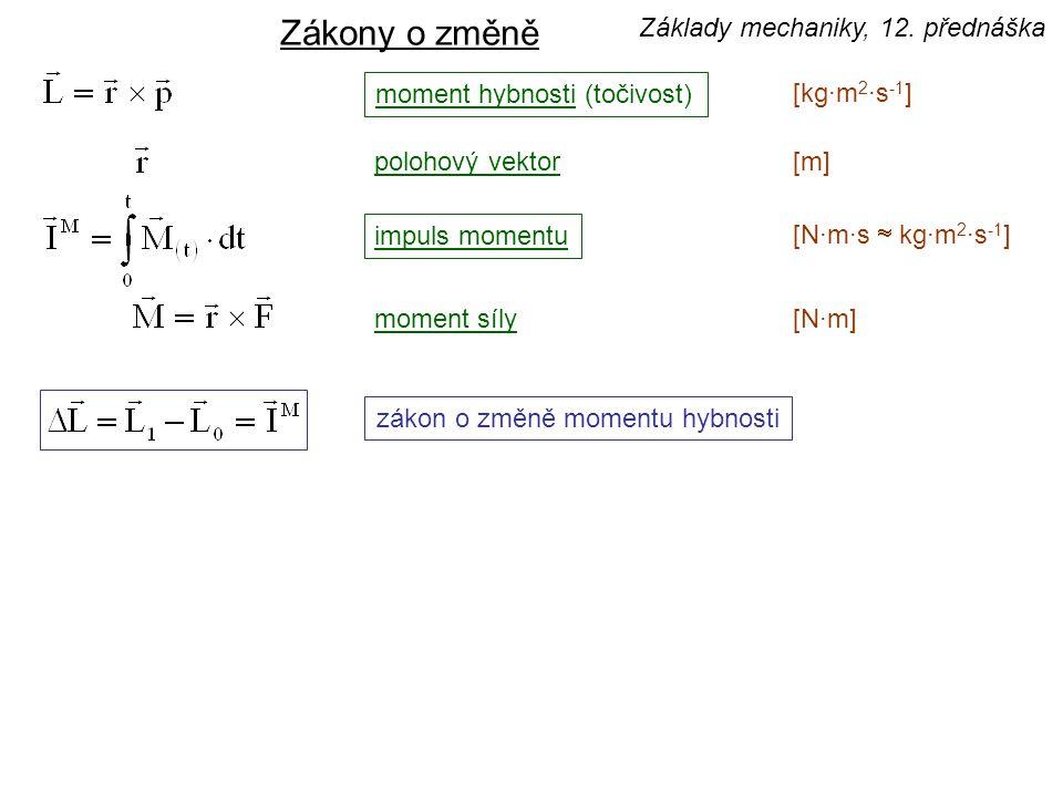 moment hybnosti (točivost) [kg·m 2 ·s -1 ] impuls momentu [N·m·s  kg·m 2 ·s -1 ] moment síly[N·m][N·m] zákon o změně momentu hybnosti Zákony o změně