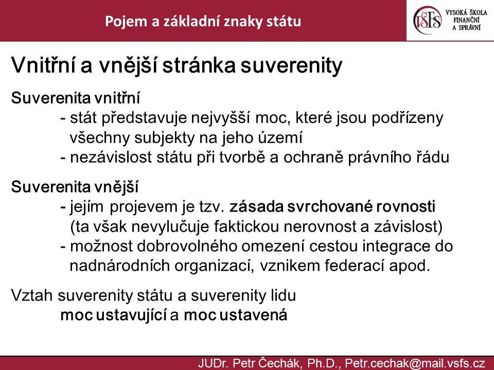 JUDr. Petr Čechák, Ph.D., Petr.cechak@mail.vsfs.cz Pojem a základní znaky státu Vnitřní a vnější stránka suverenity Suverenita vnitřní - stát představ