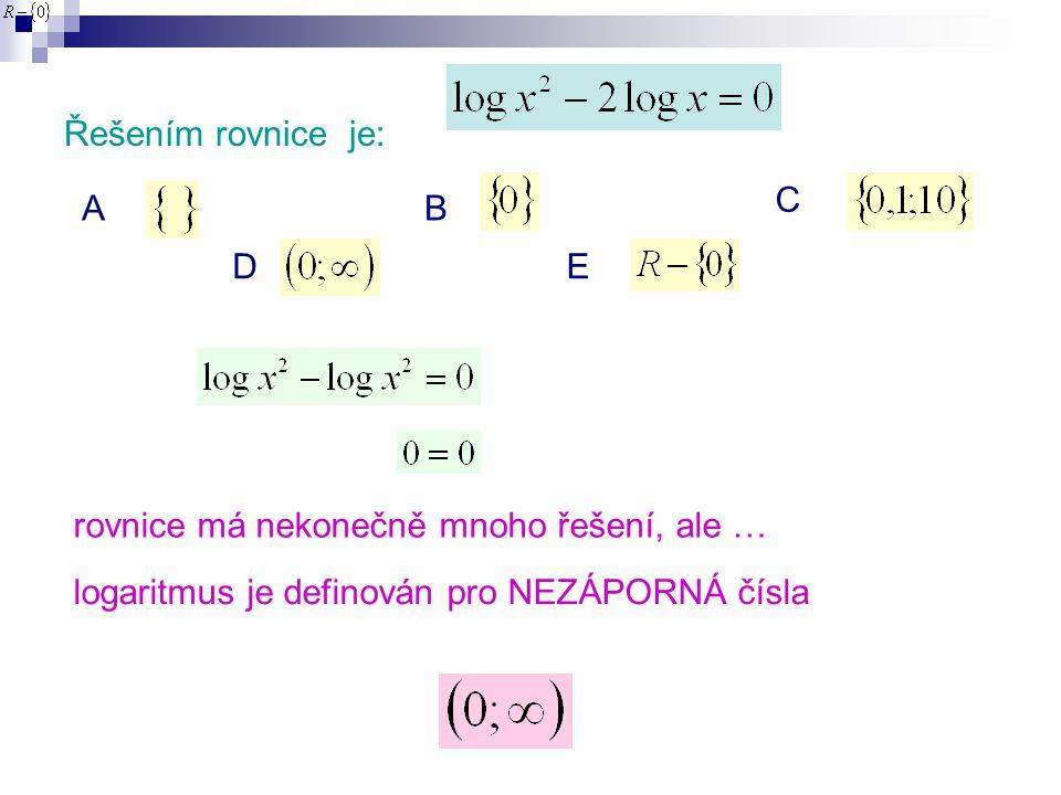 Řešením rovnice je: AB C DE rovnice má nekonečně mnoho řešení, ale … logaritmus je definován pro NEZÁPORNÁ čísla