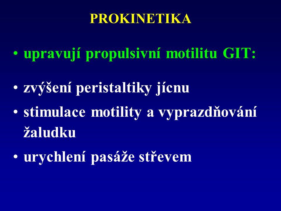 PROKINETIKA upravují propulsivní motilitu GIT: zvýšení peristaltiky jícnu stimulace motility a vyprazdňování žaludku urychlení pasáže střevem
