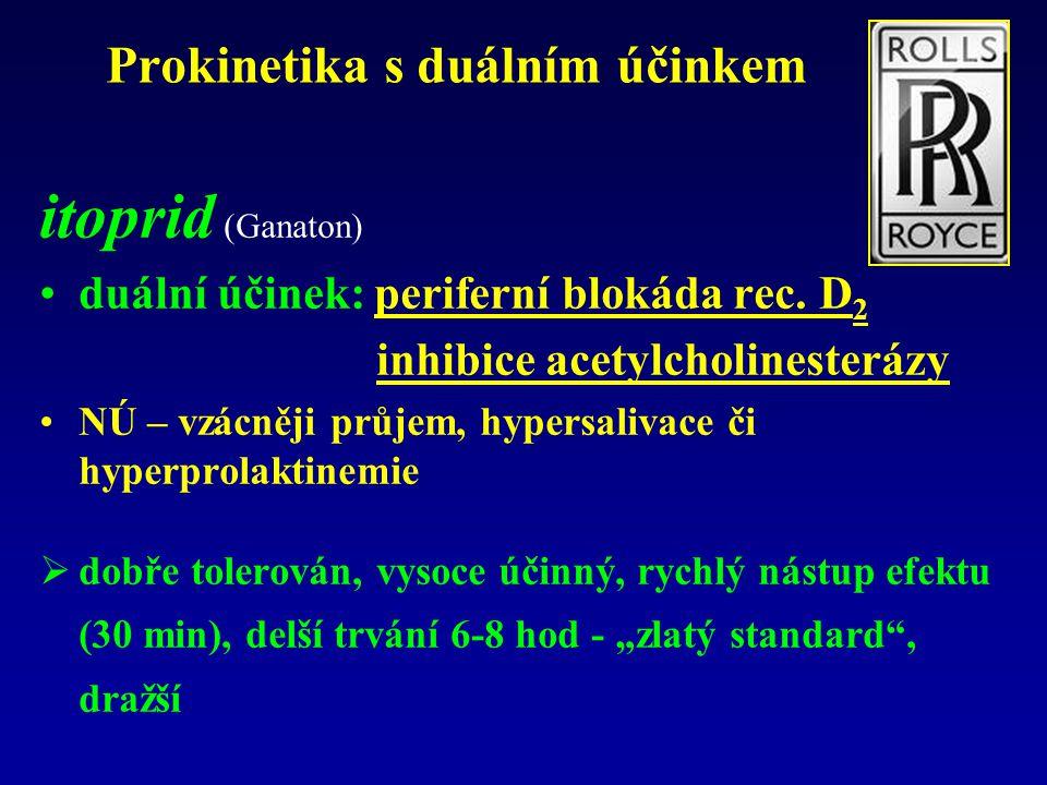 itoprid (Ganaton) duální účinek: periferní blokáda rec.