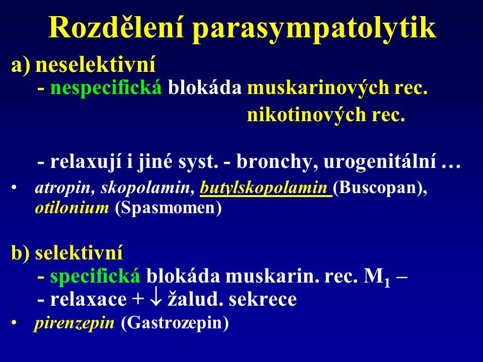 Rozdělení parasympatolytik a)neselektivní - nespecifická blokáda muskarinových rec.