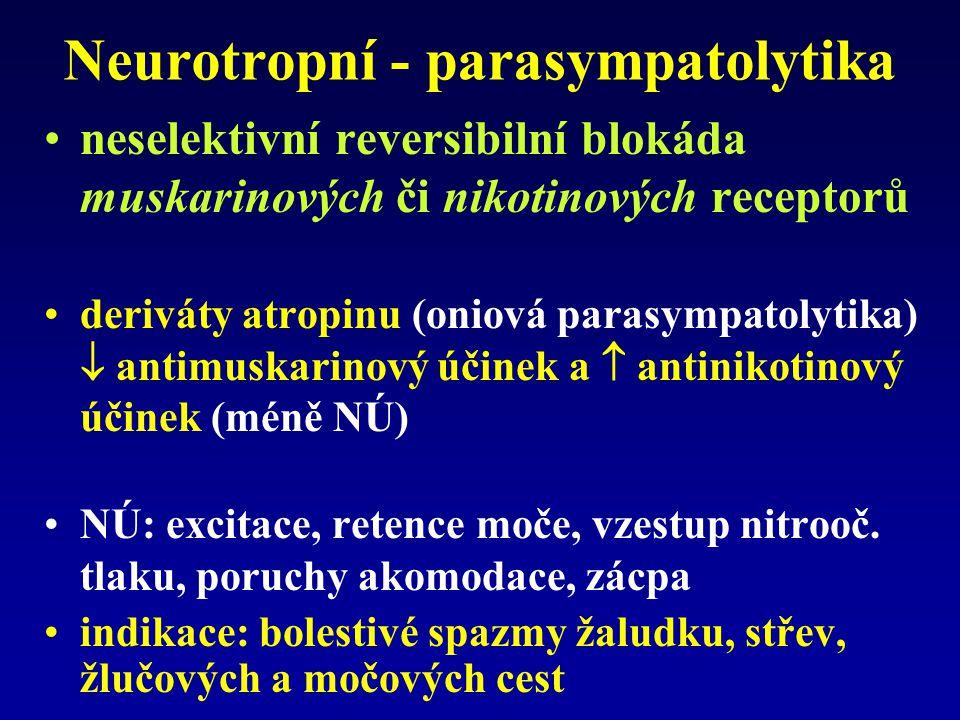 Neurotropní - parasympatolytika neselektivní reversibilní blokáda muskarinových či nikotinových receptorů deriváty atropinu (oniová parasympatolytika)  antimuskarinový účinek a  antinikotinový účinek (méně NÚ) NÚ: excitace, retence moče, vzestup nitrooč.