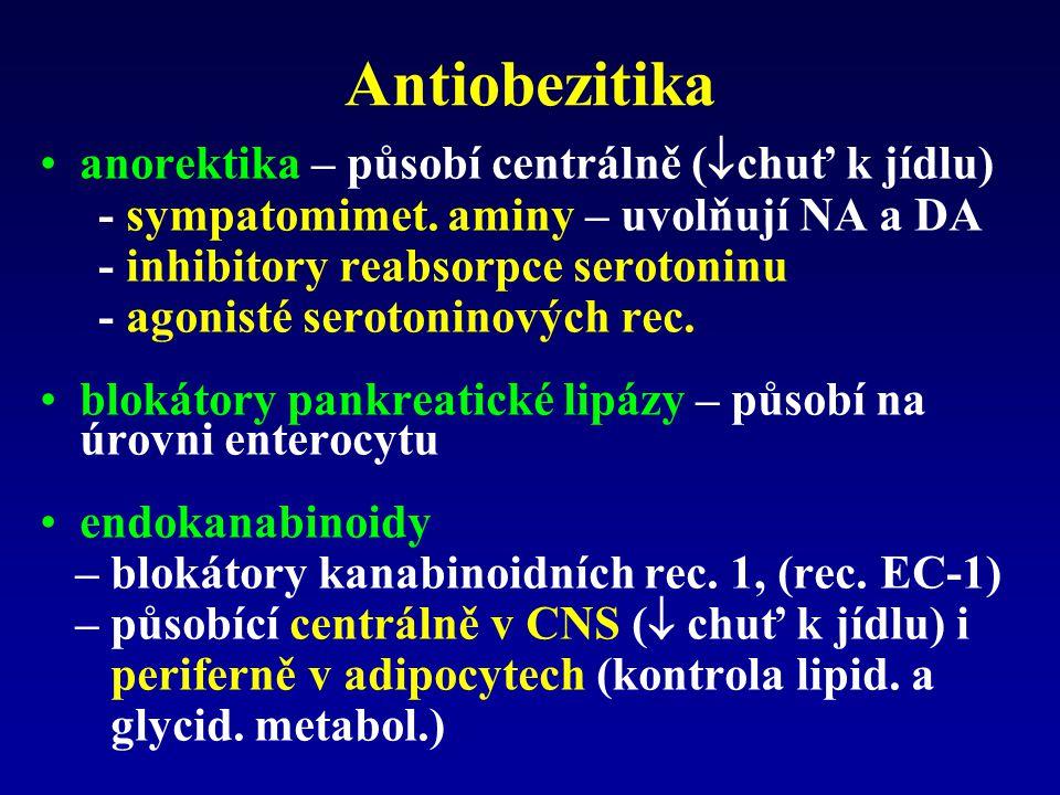 Antiobezitika anorektika – působí centrálně (  chuť k jídlu) - sympatomimet.