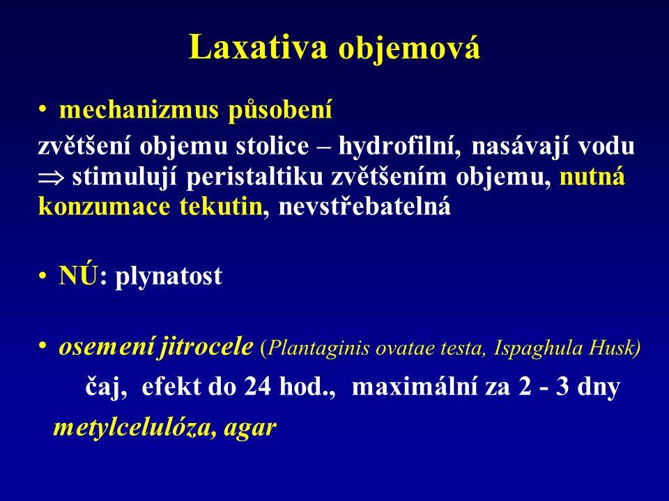 Laxativa objemová mechanizmus působení zvětšení objemu stolice – hydrofilní, nasávají vodu  stimulují peristaltiku zvětšením objemu, nutná konzumace tekutin, nevstřebatelná NÚ: plynatost osemení jitrocele (Plantaginis ovatae testa, Ispaghula Husk) čaj, efekt do 24 hod., maximální za 2 - 3 dny metylcelulóza, agar