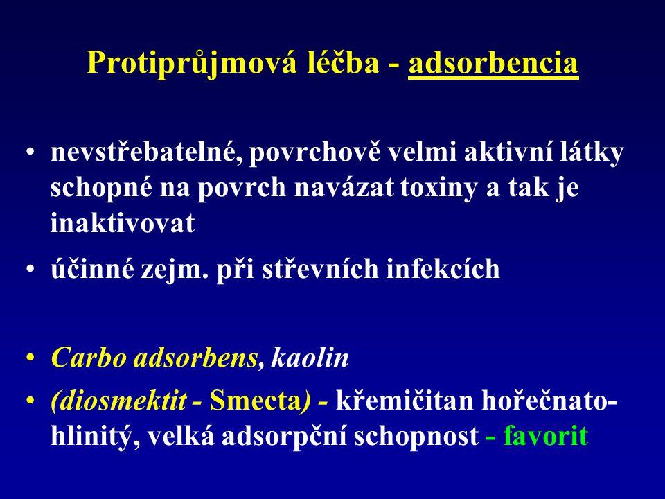 Protiprůjmová léčba - adsorbencia nevstřebatelné, povrchově velmi aktivní látky schopné na povrch navázat toxiny a tak je inaktivovat účinné zejm.