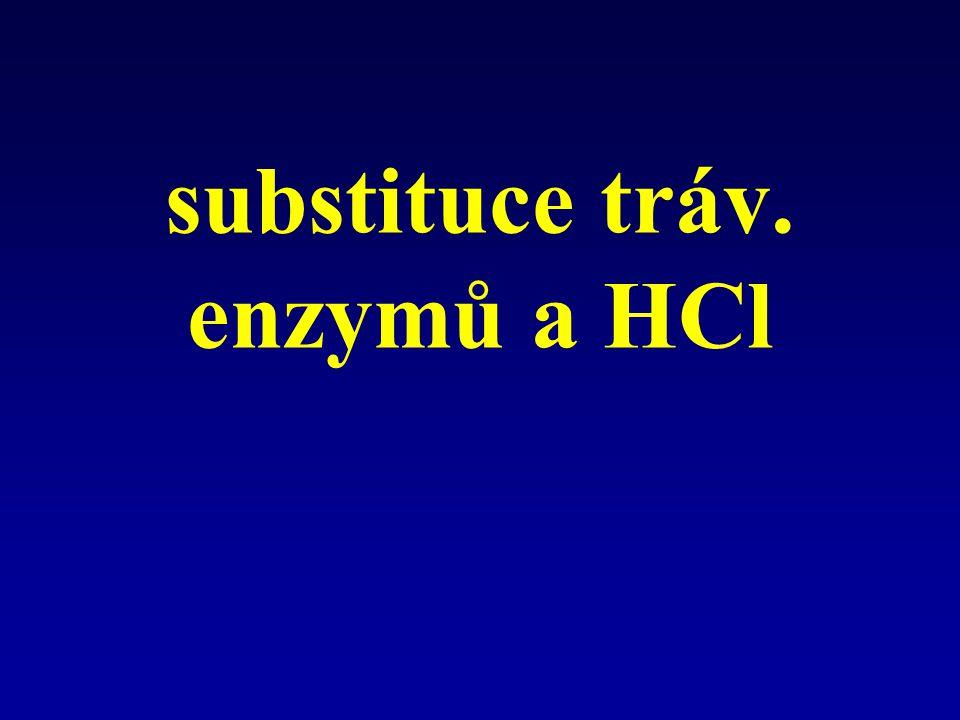 substituce tráv. enzymů a HCl