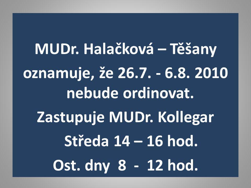 MUDr. Halačková – Těšany oznamuje, že 26.7. - 6.8.