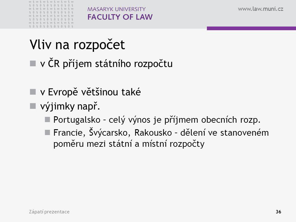 www.law.muni.cz Zápatí prezentace36 Vliv na rozpočet v ČR příjem státního rozpočtu v Evropě většinou také výjimky např. Portugalsko – celý výnos je př