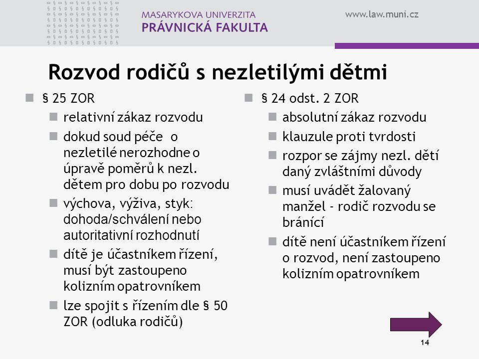 www.law.muni.cz 14 Rozvod rodičů s nezletilými dětmi § 25 ZOR relativní zákaz rozvodu dokud soud péče o nezletilé nerozhodne o úpravě poměrů k nezl.