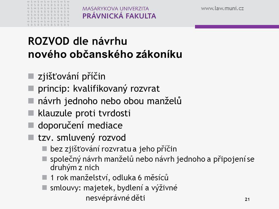 www.law.muni.cz 21 ROZVOD dle návrhu nového občanského zákoníku zjišťování příčin princip: kvalifikovaný rozvrat návrh jednoho nebo obou manželů klauzule proti tvrdosti doporučení mediace tzv.