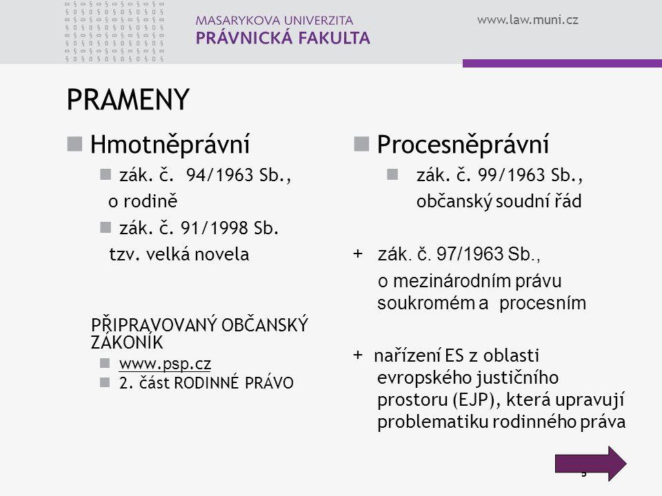 5 PRAMENY Hmotněprávní zák. č. 94/1963 Sb., o rodině zák.