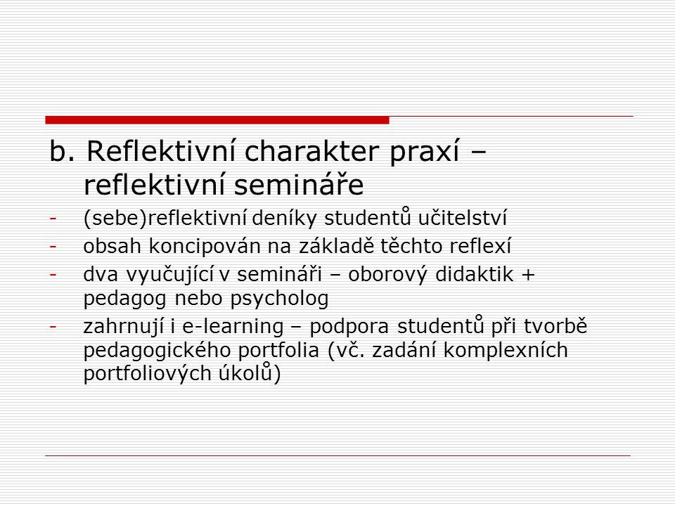 b. Reflektivní charakter praxí – reflektivní semináře -(sebe)reflektivní deníky studentů učitelství -obsah koncipován na základě těchto reflexí -dva v