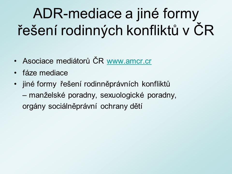 ADR-mediace a jiné formy řešení rodinných konfliktů v ČR Asociace mediátorů ČR www.amcr.cr www.amcr.cr fáze mediace jiné formy řešení rodinněprávních