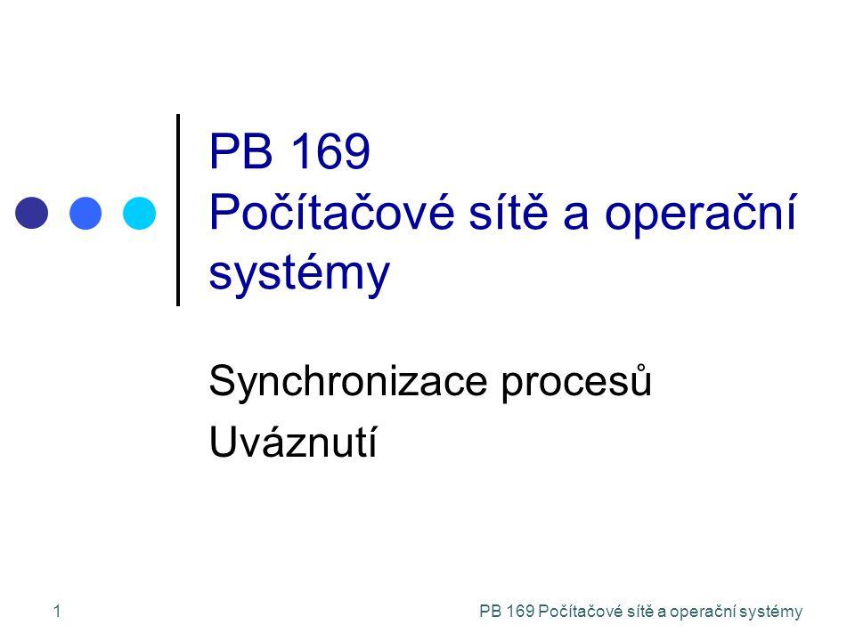 """PB 169 Počítačové sítě a operační systémy12 Počáteční návrhy řešení Máme pouze 2 procesy, P 0 a P 1 Generická struktura procesu P i do { entry section critical section exit section reminder section } while (1); Procesy mohou za účelem dosažení synchronizace svých akcí sdílet společné proměnné Činné čekání na splnění podmínky v """"entry section – """"busy waiting"""