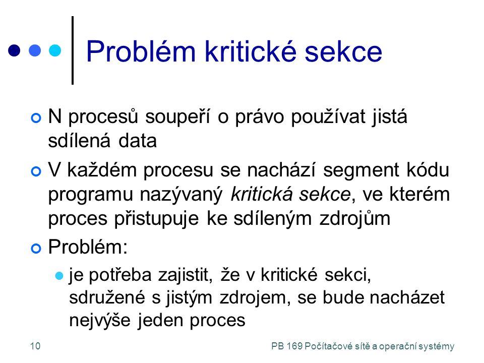PB 169 Počítačové sítě a operační systémy10 Problém kritické sekce N procesů soupeří o právo používat jistá sdílená data V každém procesu se nachází segment kódu programu nazývaný kritická sekce, ve kterém proces přistupuje ke sdíleným zdrojům Problém: je potřeba zajistit, že v kritické sekci, sdružené s jistým zdrojem, se bude nacházet nejvýše jeden proces