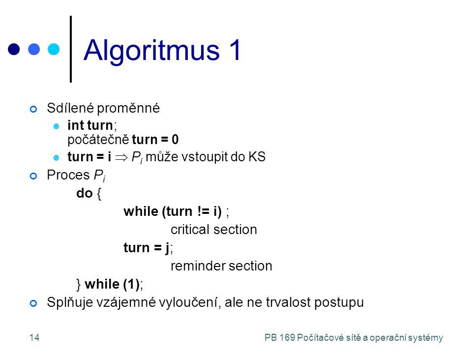 PB 169 Počítačové sítě a operační systémy14 Algoritmus 1 Sdílené proměnné int turn; počátečně turn = 0 turn = i  P i může vstoupit do KS Proces P i do { while (turn != i) ; critical section turn = j; reminder section } while (1); Splňuje vzájemné vyloučení, ale ne trvalost postupu