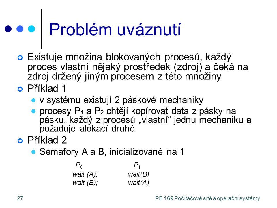"""PB 169 Počítačové sítě a operační systémy27 Problém uváznutí Existuje množina blokovaných procesů, každý proces vlastní nějaký prostředek (zdroj) a čeká na zdroj držený jiným procesem z této množiny Příklad 1 v systému existují 2 páskové mechaniky procesy P 1 a P 2 chtějí kopírovat data z pásky na pásku, každý z procesů """"vlastní jednu mechaniku a požaduje alokací druhé Příklad 2 Semafory A a B, inicializované na 1 P 0 P 1 wait (A);wait(B) wait (B);wait(A)"""