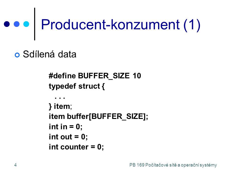 PB 169 Počítačové sítě a operační systémy4 Producent-konzument (1) Sdílená data #define BUFFER_SIZE 10 typedef struct {...