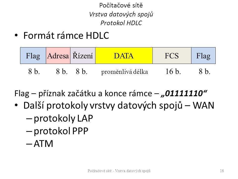 """Formát rámce HDLC Flag – příznak začátku a konce rámce – """"01111110 Další protokoly vrstvy datových spojů – WAN – protokoly LAP – protokol PPP – ATM Počítačové sítě Vrstva datových spojů Protokol HDLC Počítačové sítě - Vrstva datových spojů 16 FlagAdresaŘízeníDATAFlag 8 b."""