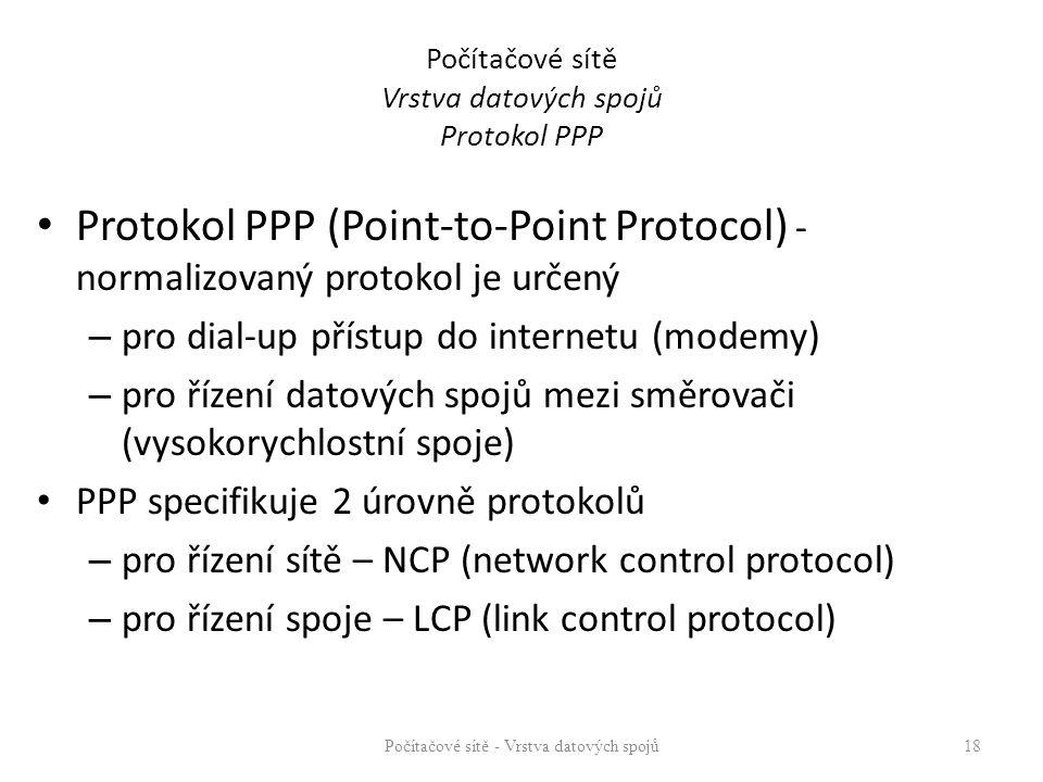 Počítačové sítě Vrstva datových spojů Protokol PPP Protokol PPP (Point-to-Point Protocol) - normalizovaný protokol je určený – pro dial-up přístup do internetu (modemy) – pro řízení datových spojů mezi směrovači (vysokorychlostní spoje) PPP specifikuje 2 úrovně protokolů – pro řízení sítě – NCP (network control protocol) – pro řízení spoje – LCP (link control protocol) Počítačové sítě - Vrstva datových spojů 18