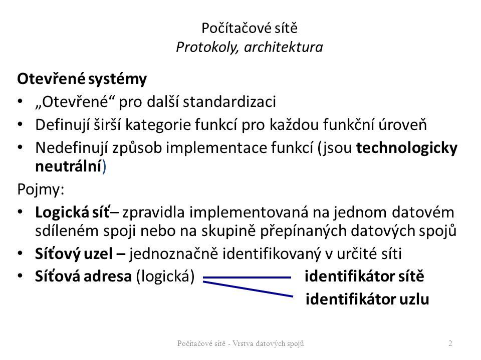 """Počítačové sítě Protokoly, architektura Otevřené systémy """"Otevřené pro další standardizaci Definují širší kategorie funkcí pro každou funkční úroveň Nedefinují způsob implementace funkcí (jsou technologicky neutrální) Pojmy: Logická síť– zpravidla implementovaná na jednom datovém sdíleném spoji nebo na skupině přepínaných datových spojů Síťový uzel – jednoznačně identifikovaný v určité síti Síťová adresa (logická) identifikátor sítě identifikátor uzlu Počítačové sítě - Vrstva datových spojů 2"""