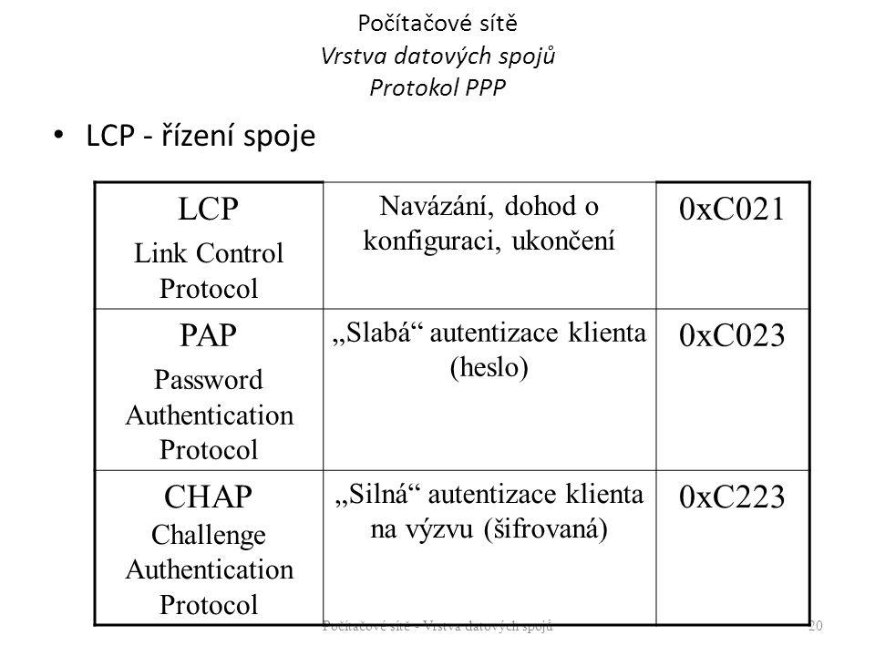 """Počítačové sítě Vrstva datových spojů Protokol PPP LCP - řízení spoje Počítačové sítě - Vrstva datových spojů 20 LCP Link Control Protocol Navázání, dohod o konfiguraci, ukončení 0xC021 PAP Password Authentication Protocol """"Slabá autentizace klienta (heslo) 0xC023 CHAP Challenge Authentication Protocol """"Silná autentizace klienta na výzvu (šifrovaná) 0xC223"""