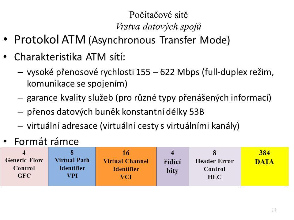 Protokol ATM (Asynchronous Transfer Mode) Charakteristika ATM sítí: – vysoké přenosové rychlosti 155 – 622 Mbps (full-duplex režim, komunikace se spojením) – garance kvality služeb (pro různé typy přenášených informací) – přenos datových buněk konstantní délky 53B – virtuální adresace (virtuální cesty s virtuálními kanály) Formát rámce Počítačové sítě - Vrstva datových spojů 21 5 Bytů48 Bytů 4 Generic Flow Control GFC 8 Virtual Path Identifier VPI 16 Virtual Channel Identifier VCI 384 DATA 8 Header Error Control HEC 4 řídící bity Počítačové sítě Vrstva datových spojů