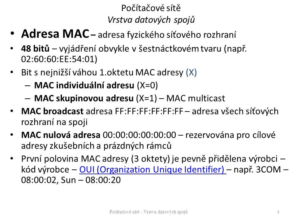 Počítačové sítě Vrstva datových spojů Adresa MAC – adresa fyzického síťového rozhraní 48 bitů – vyjádření obvykle v šestnáctkovém tvaru (např.