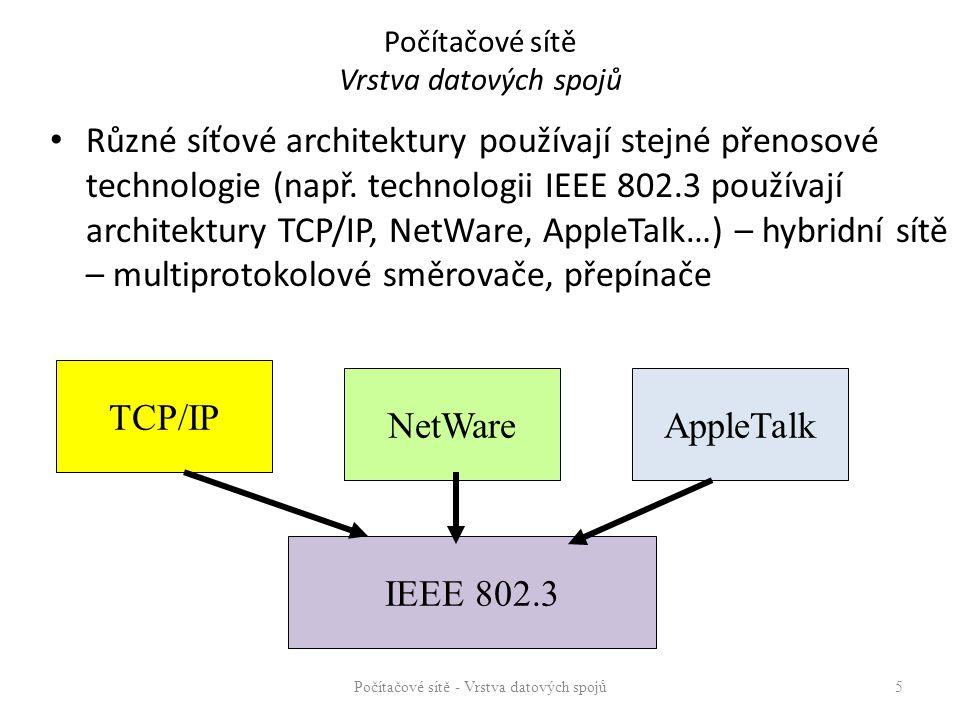 Počítačové sítě Vrstva datových spojů Různé síťové architektury používají stejné přenosové technologie (např.