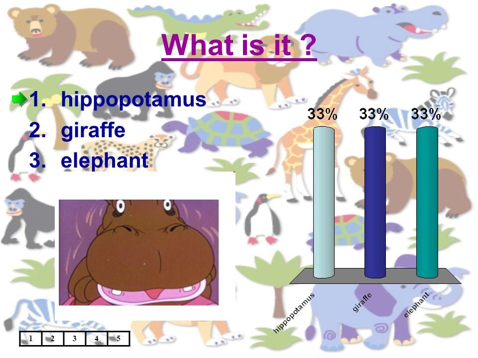 What is it ? 12345 1.hippopotamus 2.giraffe 3.elephant