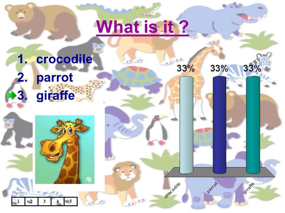 What is it 12345 1.crocodile 2.parrot 3.giraffe