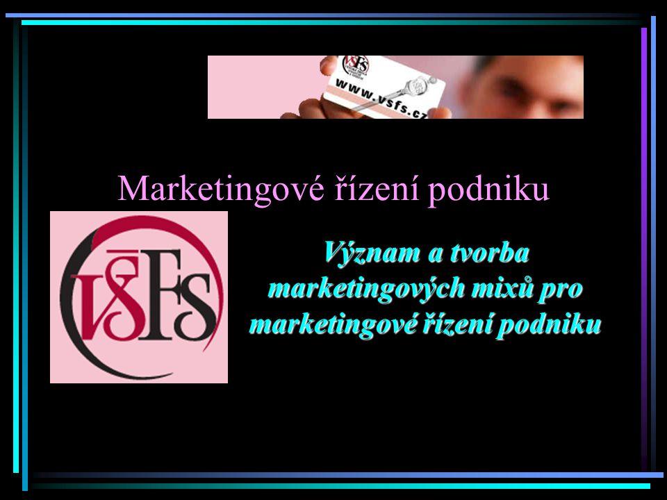 Marketing Marketing je společenský a řídící proces, kterým jednotlivci a skupiny získávají to, co potřebují a požadují, prostřednictvím tvorby, nabídky a směny hodnotných výrobků s ostatními Dle všech známých definic je možné pod pojmem marketing nalézt tyto oblasti a činnosti: Nakupování Prodej Doprava Skladování Financování Převzetí rizika – velkoobchody Standardizace a roztřídění výrobků dle jejich kvality Zajištění informací o trhu (o zákaznících, konkurenci, …) Podstatou marketingu je tedy v zásadě sladit všechny činnosti společnosti tak aby došlo k uspokojení všech zúčastněných stran (dodavatelé, zaměstnanci, majitelé, zákazníci).