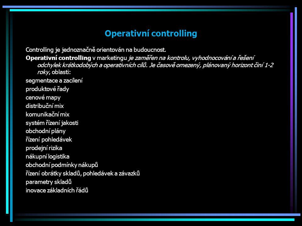 Operativní controlling Controlling je jednoznačně orientován na budoucnost. Operativní controlling v marketingu je zaměřen na kontrolu, vyhodnocování