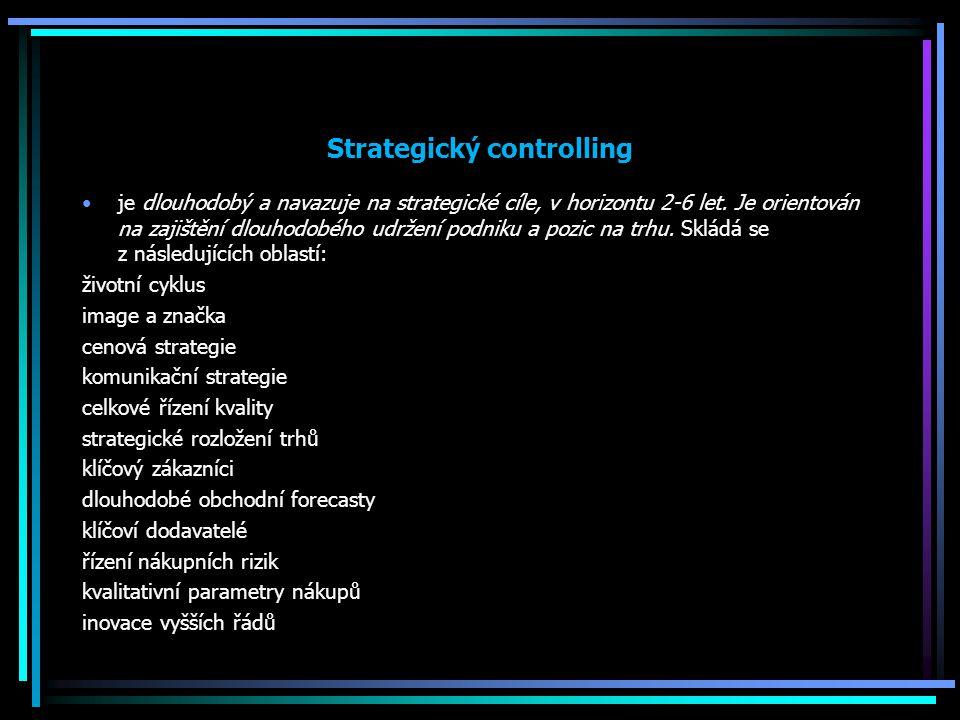 Strategický controlling je dlouhodobý a navazuje na strategické cíle, v horizontu 2-6 let. Je orientován na zajištění dlouhodobého udržení podniku a p