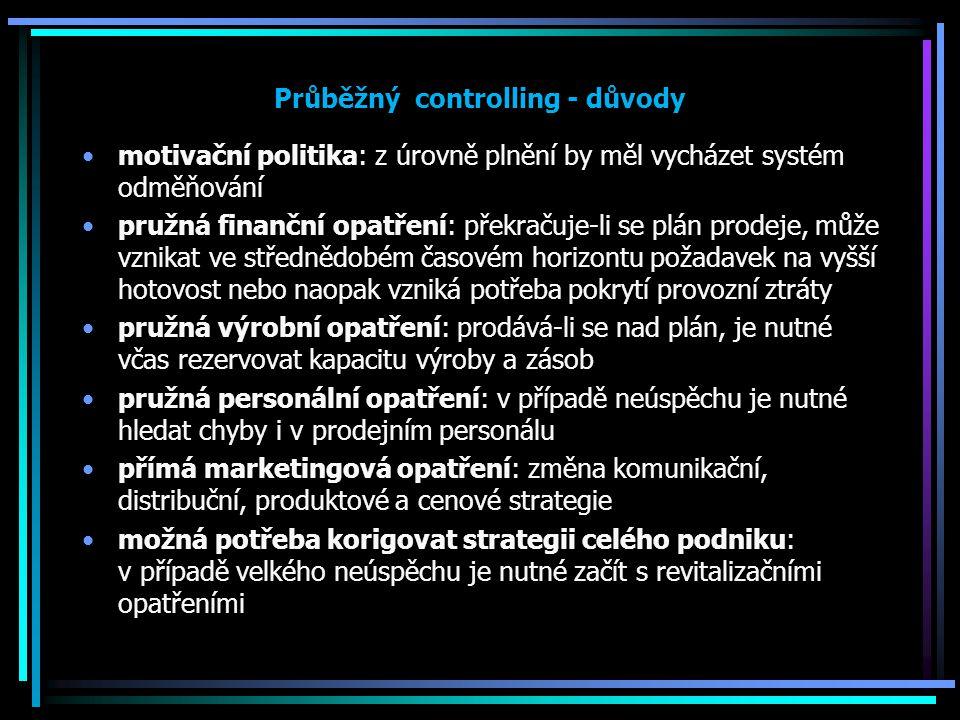 Průběžný controlling - důvody motivační politika: z úrovně plnění by měl vycházet systém odměňování pružná finanční opatření: překračuje-li se plán pr
