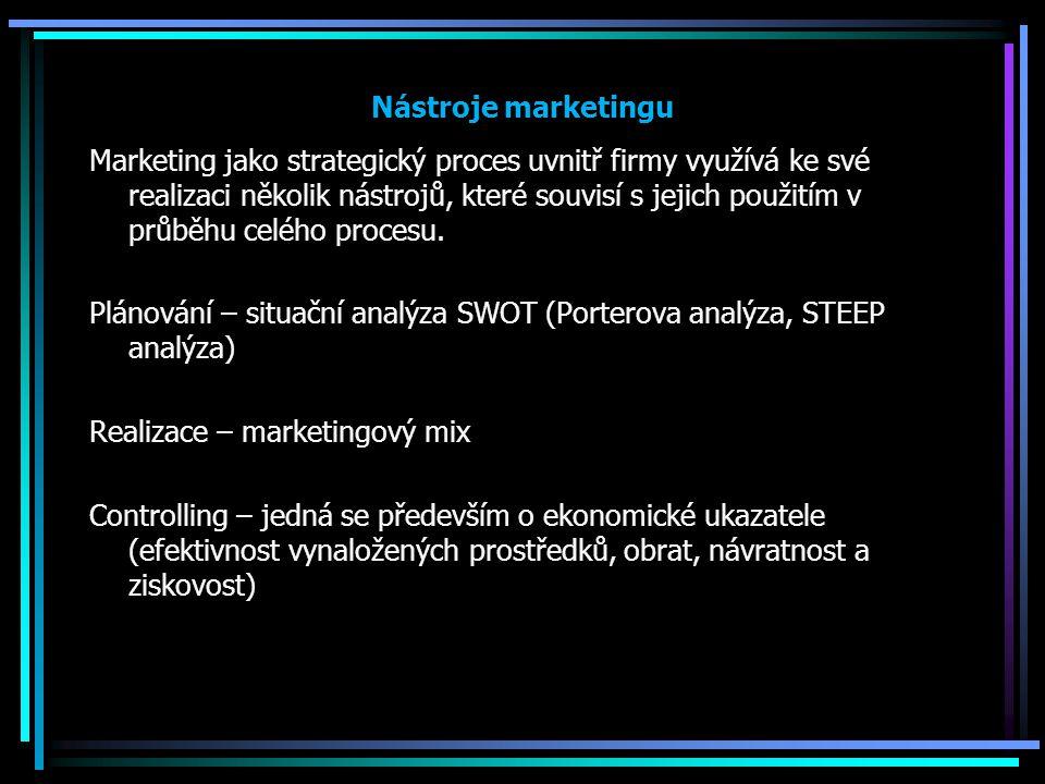 Nástroje marketingu Marketing jako strategický proces uvnitř firmy využívá ke své realizaci několik nástrojů, které souvisí s jejich použitím v průběh